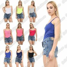 New Ladies Ribbed Strappy Cami Plain Summer Vest Fitted Cotton T-Shirt Tank Top