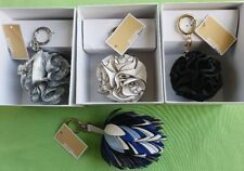 MICHAEL KORS ORIGAMI ROSE LEATHER KEY CHAIN BAG CHARM :SILVER,WHITE,BLACK