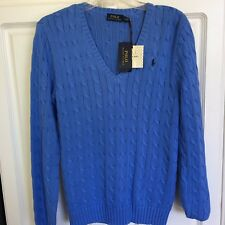 NWT Ralph Lauren Polo Women's Blue Cotton V Neck Cable Knit  Sweater