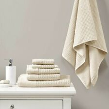 Luxury 6pc Solid Taupe Spa Waffle Cotton Jacquard Towel Set