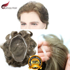 Full French Lace Men Toupee Breathable Wig Hairpiece Indian Remy Human Hair