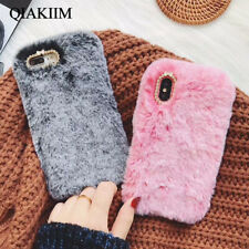 Cute Fluffy Rabbit Fur Jewelled Soft Phone Case Cover For Samsung Galaxy Phones