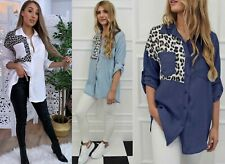WOMEN'S  OVERSIZED LEOPARD DETAIL DENIM COLLARED BUTTON UP SHIRT LADIES TOP 8-16