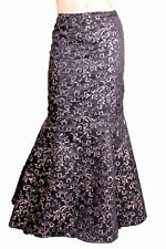 Steampunk/gothic black/gold brocade ribbon tail jacket and long skirt+ free hat