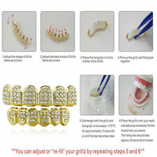 Teeth Grills Plated Mouth Tooth Caps Custom 1 Set Grillz Top Bottom Set Bling