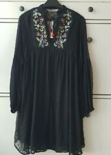 ZARA  BLACK EMBROIDERED DOTTED MESH DRESS BNWT SIZES XS&S&M