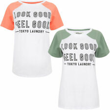 New Womens Tokyo Laundry Ava Scoop Neck Cotton Printed T-Shirt Size 10/S - 16/XL