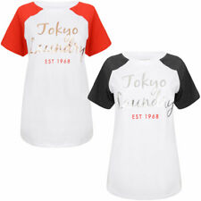 New Womens Tokyo Laundry Syreena Scoop Neck Cotton Blend T-Shirt Size 10/S-16/XL