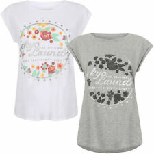 New Womens Tokyo Laundry Emia Scoop Neck Cotton Rich T-Shirt Top Size 10/S-16/XL