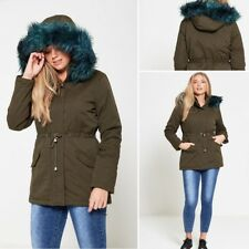 NEW WOMENS BRAVE SOUL MILITARY PARKA JACKET LADIES GREEN FUR HOODED WINTER COAT