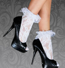LEG AVENUE DESIGNER WOMENS LADIES SEXY FRILLY LACE RUFFLE ANKLE SOCKS ANKLETS