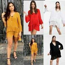 NEW Womens Ladies V neck Plunge Ruffle Frill Pleated Button Mini Shirt Dress Top