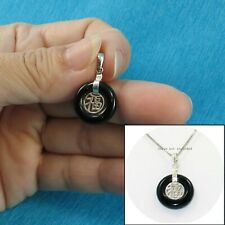 Solid Sterling Silver 925 Good Fortunes 16 mm Black Onyx Ring Shaped Pendant TPJ
