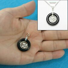 Solid 925 Sterling Silver Dragon Design on 20mm Black Onyx Lucky Pendant TPJ