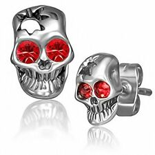 Stainless Steel Silver-Tone White Red CZ Small Skull Stud Earrings