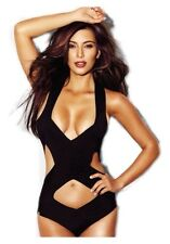 AMBER CB LUXE CB BANDAGE ONE PIECE SWIMSUIT BLACK