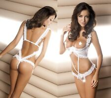 White Cupless & Crotchless Danae Teddy, Wedding, Bridal, Bride, Sexy Lingerie