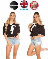 Sexy Womens Black Off Shoulder Blouse Shirt Top with White Bow Size 8