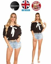 Sexy Womens Black Off Shoulder Blouse Shirt Top with White Bow Size 10