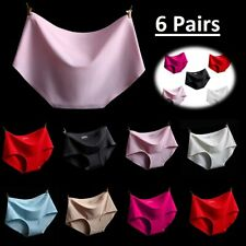 6x Ladies Seamless Spandex Ice Silk Elastic Briefs Panties Knickers Underwear