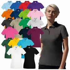 FRUIT OF THE LOOM Women Premium Cotton Polo Shirt Sleeve Casual Ladies Polo TOP