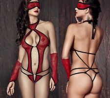 Sexy Red/Black Cut Out Teddy W/Gloves & Eye Mask, Strappy Back Bodysuit Lingerie