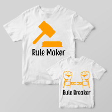 Rule maker rule breaker baby dad matching set baby grow t shirt father son