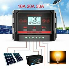 12/24V 10A 20A 30A LCD Solar Charge Controller Panel Battery Regulator Dual USB