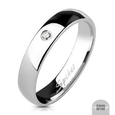 Classic Women's Ring Silver Polished Zirconia 8 Size Stainless Steel