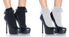 Ruffle Anklets, Lace Top Ankle Socks, School Girl, Frilly, Nylon, Black or White