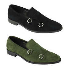 Mens Real Suede Leather Shoes Monk Strap Retro Slip on Loafers in Green, Black