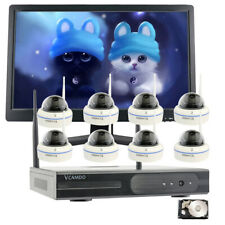 8CH 1080P Home Wireless Security Camera System Surveillance NVR With LED Monitor