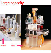 360 Degree Rotating Clear Makeup Cosmetic Rack Holder Organizer Storage Box Case