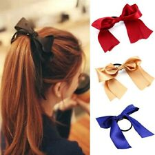 1PC Women Tiara Satin Bow Tie Scrunch Hair Band Ribbon Scrunchie Ponytail