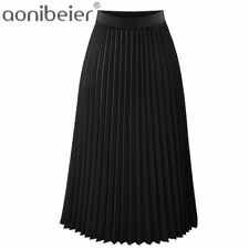 Skirts Fashion Women's High Waist Pleated Solid Color Length Elastic Lady Casual