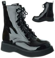 Womens Ladies Doc Ankle Boots Low Flatform Lace Up Worker Army Goth Shoes Size