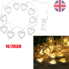 10 20 LED Warm White String Wooden Heart Fairy Lights Lamp Xmas Christmas Party