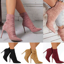 Winter Women Suede Smart High Stiletto Heel Ankle Boots Pointed Toe Zip Up Shoes
