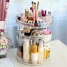 360° Rotating Makeup Organizer Acrylic Cosmetic Display Spinning Rack Storage