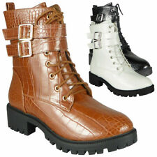 Womens Boots Ankle Combat Chunky Heel Ladies Lace Up Buckle Zip Croc Army Shoes