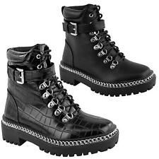 WOMENS LADIES CHUNKY CHAIN LACE UP FLAT LOW HEEL ZIP UP ANKLE BOOTS SHOES SIZE