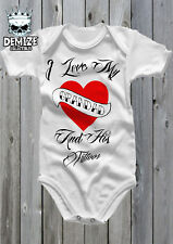 100/% COTTON  I Love My DAD and His Tattoos//Funny//Cute//Sleepsuit//Baby Grow//Romper