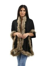 Womens Four Sided Faux Fur Trim Blanket Scarf Warm Wrap Stole Cape Poncho Shawl