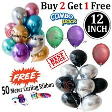 12 inch Round Chrome *Silver* Latex Balloon, Birthday Party Wedding Decoration