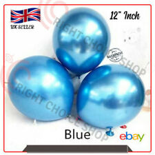 12 inch Round Chrome *Blue* Latex Balloon, Birthday Party Wedding Decoration UK