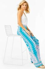 "Lilly Pulitzer 33"" BAL HARBOUR MID RISE PALAZZO PANT-colour Turquoise Teal"