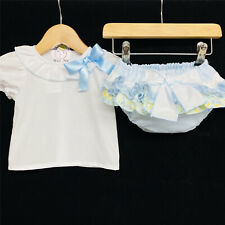 Baby Girls Spanish Romany Frilly Pants Cotton /& Organza White Pink 0-18m