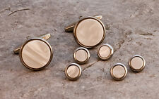 Shirt Studs and Cufflinks - Mother Of Pearl or Onyx with Gilt or Chrome