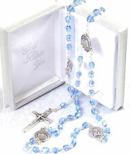 BLUE or CRYSTAL CLEAR GLASS ROSARY BEADS Rosaries in Prayer Book Box Silver