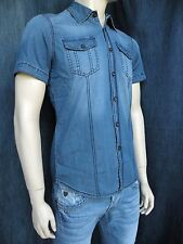 Camicia In Jeans Uomo Slim Fit Denim Spandex Taglia S M L XL XXL